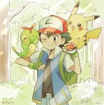 1boy ^_^ backpack bag baseball_cap belt black_hair black_shirt blue_jacket blue_pants brown_eyes caterpie closed_eyes commentary_request cowboy_shot episode_number fingerless_gloves forest gen_1_pokemon gloves green_backpack green_gloves hat holding holding_poke_ball jacket looking_at_another male_focus mei_(maysroom) nature number on_shoulder one_eye_closed outdoors pants pikachu poke_ball poke_ball_(generic) pokemon pokemon_(anime) pokemon_(classic_anime) pokemon_(creature) pokemon_on_arm pokemon_on_shoulder satoshi_(pokemon) shirt signature smile tree viridian_forest