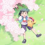 1boy baseball_cap black_hair blown_petals blue_shorts blue_vest brown_eyes cherry_blossoms cherry_tree english_text gen_1_pokemon hand_on_another's_hat hat hatted_pokemon highres looking_up male_focus mei_(maysroom) open_mouth pikachu pokemon pokemon_(anime) pokemon_(creature) pokemon_swsh_(anime) satoshi_(pokemon) shirt shorts sitting sleeveless smile spiky_hair tagme upper_teeth vest white_shirt