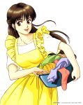 1990s_(style) 1996 1girl basket brown_eyes brown_hair copyright dated dress highres holding holding_basket laundry_basket long_hair open_mouth pc_engine_fan short_sleeves simple_background solo takada_akemi white_background yellow_dress