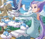 1girl altaria bagon breasts clouds day eyelashes gen_3_pokemon gloves gym_leader hair_tie long_hair looking_at_another nagi_(pokemon) outdoors parted_lips pokemoa pokemon pokemon_(creature) pokemon_(game) pokemon_rse ponytail purple_hair shoulder_blades sitting sky smile starter_pokemon swablu taillow teeth tied_hair torchic tree very_long_hair violet_eyes white_gloves