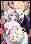 1boy 1girl argyle argyle_background black_hair black_neckwear blonde_hair blue_eyes cake cookie cup dress fantasy flower food gloves hair_flower hair_ornament hand_in_another's_hair hand_up holding holding_cup jewelry long_hair long_sleeves necklace plate slice_of_cake standing teacup teapot teaspoon tenma_ako tray violet_eyes white_gloves