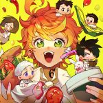 2girls 4boys ahoge bandaid bandaid_on_ear black_eyes black_hair book bread brown_eyes brown_footwear brown_hair cheese chibi chili_pepper closed_mouth collar collared_shirt commentary_request cup don_(yakusoku_no_neverland) drinking_straw emma_(yakusoku_no_neverland) food full_body gilda_(yakusoku_no_neverland) glasses green_eyes hair_over_one_eye highres holding holding_book holding_cup holding_food ke02152 lettuce long_sleeves looking_at_another looking_at_viewer multiple_boys multiple_girls neck_tattoo norman_(yakusoku_no_neverland) number_tattoo open_book open_mouth orange_hair pants pepper phil_(yakusoku_no_neverland) ray_(yakusoku_no_neverland) round_eyewear shirt short_hair simple_background sitting smile spiky_hair star-shaped_pupils star_(symbol) stuffed_animal stuffed_bunny stuffed_toy symbol-shaped_pupils tattoo teeth thick_eyebrows tomato toy upper_body white_hair white_pants white_shirt yakusoku_no_neverland yellow_background