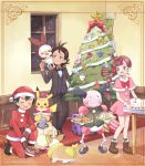 1girl 2boys :d antlers applin black_bow black_footwear black_hair black_jacket black_pants blue_eyes blush bow bowl bowtie box braid braided_ponytail brown_footwear brown_gloves butler cake carpet chicken_(food) christmas christmas_cake christmas_lights christmas_ornaments christmas_tree closed_eyes clothed_pokemon commentary_request cosplay creature cryogonal cubchoo dark_skin dark_skinned_male dog dress fang flower food formal fur_trim gen_1_pokemon gen_2_pokemon gen_5_pokemon gen_8_pokemon gift gift_box gloves gou_(pokemon) green_eyes grookey hair_flower hair_ornament hat hatted_pokemon highres holding holding_gift holding_plate hood indoors jacket litwick long_hair looking_at_another mei_(maysroom) mew mr._mime multiple_boys mythical_pokemon on_shoulder one_knee open_mouth pants pet_bowl pikachu pink_dress plate poke_ball poke_ball_theme pokemon pokemon_(anime) pokemon_(creature) pokemon_on_shoulder pokemon_swsh_(anime) premier_ball rabbit red_bow redhead reindeer_antlers sack sakuragi_koharu sandwich santa_costume santa_hat satoshi_(pokemon) scorbunny shoes short_dress signature smile snom snowing sobble socks standing standing_on_person stantler stantler_(cosplay) starter_pokemon starter_pokemon_trio staryu striped striped_bow striped_neckwear suit table themed_object tongue tongue_out upper_teeth window |d