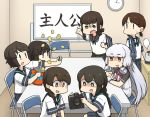 6+girls bangs black_eyes black_hair black_sailor_collar black_skirt blue_sailor_collar blue_skirt blunt_bangs braid brown_eyes brown_hair camera cellphone chair chips commentary_request food fubuki_(kantai_collection) gloves hair_over_shoulder hair_ribbon hamu_koutarou hatsuyuki_(kantai_collection) headgear highres isonami_(kantai_collection) kantai_collection long_hair low_ponytail low_twintails miyuki_(kantai_collection) multiple_girls murakumo_(kantai_collection) necktie orange_eyes parted_bangs phone pleated_skirt ponytail potato_chips red_neckwear remodel_(kantai_collection) ribbon sailor_collar school_uniform serafuku shirayuki_(kantai_collection) short_eyebrows short_hair short_ponytail short_twintails sidelocks silver_hair single_braid sitting skirt table translation_request tress_ribbon twintails uranami_(kantai_collection) wavy_hair white_gloves whiteboard