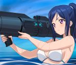 >:( a1 aiming bangs bare_shoulders bazooka_(gundam) bikini blue_hair blush breasts closed_mouth determined frown furrowed_eyebrows gundam gundam_0083 gundam_gp-02_physalis large_breasts long_hair looking_to_the_side love_live! love_live!_sunshine!! matsuura_kanan parody partially_submerged ponytail sideboob sidelocks string_bikini swept_bangs swimsuit upper_body v-shaped_eyebrows violet_eyes water wet white_bikini