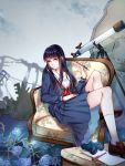 1girl binoculars black_hair blue_eyes blue_skirt brown_footwear chair copyright_request flower footrest highres holding holding_pen long_hair long_sleeves looking_at_viewer outdoors parted_lips pen rong_nage_rong school_uniform sitting skirt solo telescope uniform