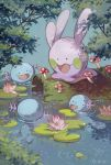 artist_name blue_background chinese_commentary commentary_request creature dappled_sunlight dou_(doudouzi) flower fly_agaric gen_2_pokemon gen_6_pokemon goomy highres lily_pad log lotus mushroom no_humans open_mouth outdoors pokemon pond ripples smile sunlight swimming wooper