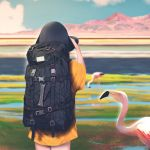 1girl agnamore animal backpack bag bird black_hair blurry blurry_background camera cowboy_shot day depth_of_field facing_away flamingo from_behind hand_up holding holding_camera lake meadow mountain nature no_pants orange_shirt original pond shirt short_sleeves sky solo taking_picture