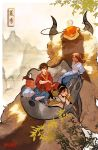 2girls 3boys aang appa artist_name avatar:_the_last_airbender avatar_(series) bald black_hair braid braided_ponytail branch brown_hair burn_scar dark_skin flying hair_bun hairband highres horns katara midair mountain multiple_boys multiple_girls riding saddle scar short_ponytail sitting sokka toph_bei_fong velocesmells zuko