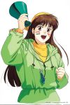 1990s_(style) 1996 1girl backwards_hat brown_eyes brown_hair clenched_hand copyright dated facepaint hat highres holding hood hood_down long_hair long_sleeves open_mouth pc_engine_fan simple_background solo takada_akemi track_suit whistle whistle_around_neck white_background