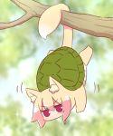 animal_ear_fluff animal_ears fox fox_ears fox_girl fox_tail hair_bun hanging highres kemomimi-chan_(naga_u) naga_u original red_eyes tail tree turtle turtle_shell