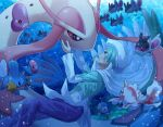 1boy aqua_eyes aqua_hair bubble cape eye_contact finneon gen_1_pokemon gen_3_pokemon gen_4_pokemon goldeen hand_on_another's_cheek hand_on_another's_face hat looking_at_another luvdisc mikuri_(pokemon) milotic mudkip pants parted_lips piplup pokemoa pokemon pokemon_(creature) pokemon_(game) pokemon_emerald pokemon_rse purple_pants shiny shiny_hair short_hair smile starter_pokemon teeth underwater white_cape white_headwear