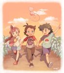 1girl 2boys :d arm_up bag black_footwear black_hair blue_eyes blue_shirt blue_shorts blue_skirt border braid braided_ponytail brown_eyes brown_pants bush character_print clouds commentary_request dark_skin dark_skinned_male dusk floating gen_1_pokemon gengar gou_(pokemon) green_eyes highres holding_hands looking_at_another mei_(maysroom) mew multiple_boys mythical_pokemon neckerchief no_hat no_headwear no_socks open_mouth outdoors pants pointing poke_ball_print pokemon pokemon_(anime) pokemon_(creature) pokemon_swsh_(anime) print_shirt red_footwear redhead road sakuragi_koharu satoshi_(pokemon) shirt shoes shorts shoulder_bag single_braid skirt smile star_(symbol) star_print upper_teeth walking what_if white_border white_legwear white_shirt yellow_neckwear younger