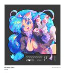 animal_ears barachan big_hair blue_eyes blue_hair breasts cat_ears cat_girl cat_paws cat_tail claws felicia fur highres jacket open_mouth paws shrug_(clothing) tail teeth vampire_(game) white_fur