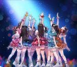 aida_rikako arm_up boots bow frills furihata_ai green_skirt hair_bow hyugo idol inami_anju kobayashi_aika komiya_arisa layered_skirt legband love_live! love_live!_sunshine!! orange_skirt penlight pink_skirt real_life red_skirt saitou_shuka scrunchie seiyuu skirt spotlight suwa_nanaka suzuki_aina_(seiyuu) takatsuki_kanako thigh-highs white_legwear