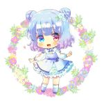 1girl :d blue_dress blue_eyes blue_flower blue_footwear blue_hair blush chibi commentary_request commission double_bun dress floral_background flower frilled_dress frills full_body gradient_hair hair_flower hair_ornament heterochromia kouu_hiyoyo long_sleeves looking_at_viewer lowres multicolored_hair open_mouth original pink_flower puffy_long_sleeves puffy_sleeves purple_hair red_eyes smile socks solo standing white_background white_flower white_legwear yellow_flower