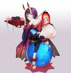 1girl ankle_ribbon ass bangs bare_shoulders barefoot_sandals blush bob_cut breasts eyeliner fate/grand_order fate_(series) feet food fruit fruit_bowl gourd gradient gradient_background grapes grey_background headpiece horns japanese_clothes kimono lantern legs long_sleeves looking_at_viewer looking_back makeup obi off_shoulder oni oni_horns paper_lantern parted_lips peach purple_hair purple_kimono red_ribbon revealing_clothes ribbon sash short_eyebrows short_hair short_kimono shuten_douji_(fate/grand_order) skin-covered_horns small_breasts smile soles violet_eyes wide_sleeves yaku_(ziroken)