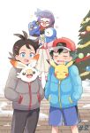 1girl 2boys bird black_hair black_pants blue_coat blue_eyes blue_shorts blush_stickers breath christmas_tree closed_eyes coat cold commentary_request creature croagunk dark_skin dark_skinned_male dress episode_number gen_1_pokemon gen_4_pokemon gen_8_pokemon glasses gou_(pokemon) grey_coat grin hands_in_pockets highres hug inside_clothes jacket long_hair looking_at_another mei_(maysroom) misaki_(pokemon) multiple_boys number open_mouth pants penguin pikachu pink_jacket piplup pokemon pokemon_(anime) pokemon_(creature) pokemon_swsh_(anime) purple_hair rabbit red_scarf road satoshi_(pokemon) scarf scorbunny shorts signature smile snow starter_pokemon street tree trembling wavy_mouth white_dress winter_clothes winter_coat |d