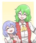 2girls ^_^ arm_around_shoulder ascot blush_stickers brooch closed_eyes collared_shirt commentary english_commentary eyebrows_visible_through_hair fang green_hair hair_between_eyes hand_on_hip height_difference highres jewelry kazami_yuuka long_sleeves mata_(matasoup) medium_hair multiple_girls open_clothes open_mouth open_vest plaid plaid_vest purple_hair red_vest remilia_scarlet shirt side-by-side smile touhou upper_body upper_teeth vest white_shirt wing_collar yellow_neckwear |d