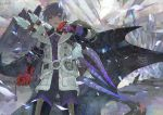 1boy after_battle armor blood blood_on_face blood_splatter bloody_clothes bloody_weapon buckle fur_trim gauntlets greaves grey_hair highres holding holding_sword holding_weapon monster monster_hunter monster_hunter:_world nishihara_isao outdoors short_hair sword violet_eyes weapon wiping_face