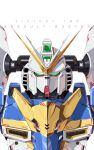 absurdres azzalea character_name green_eyes gundam highres looking_at_viewer mecha no_humans science_fiction solo upper_body v-fin v2_gundam victory_gundam white_background