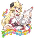 1girl :d ahoge animal_ears blonde_hair blue_eyes bow bowtie breasts brooch commentary cowboy_shot detached_sleeves dress eyelashes fur-trimmed_dress fur-trimmed_sleeves fur_trim hair_ornament hairclip harp holding holding_instrument hololive horns instrument jewelry long_hair looking_at_viewer medium_breasts musical_note open_mouth rainbow_order red_neckwear sheep sheep_ears sheep_horns simple_background six_suke smile solo staff_(music) transparent_background tsunomaki_watame virtual_youtuber white_dress wool