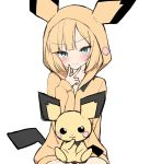 1girl animal_ears bangs blonde_hair blue_eyes blunt_bangs blush cowboy_shot eyebrows_visible_through_hair fake_animal_ears gen_2_pokemon hood hoodie kamu_(geeenius) looking_at_viewer pichu pokemon pokemon_(creature) pokemon_ears short_hair smile solo tail v white_background
