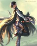 1girl ankle_gun argyle_cutout ass back back_cutout backlighting bayonetta bayonetta_(character) bayonetta_2 black_hair bodysuit breasts covered_nipples day earrings elbow_gloves finger_on_trigger glasses gloves highres jewelry kupocun large_breasts lips looking_at_viewer looking_back nose pink_lips pixie_cut quadruple_wielding revealing_clothes short_hair skin_tight solo thighs white_gloves wrist_cuffs