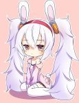 1girl absurdres animal_ears azur_lane bangs between_legs camisole chibi closed_mouth collarbone commentary_request eyebrows_visible_through_hair fake_animal_ears full_body hair_between_eyes hair_ornament hairband hand_between_legs highres jacket laffey_(azur_lane) long_hair long_sleeves looking_at_viewer off-shoulder_jacket open_clothes open_jacket outline pink_background pink_jacket pleated_skirt poppypilf rabbit_ears red_hairband red_skirt shadow sidelocks simple_background single_bare_shoulder sitting skirt solo thigh-highs twintails very_long_hair violet_eyes wariza white_camisole white_hair white_legwear