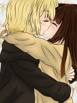 1girl absurdres blonde_hair blush brown_hair eyebrows_visible_through_hair french_kiss grey_background highres hug kiss original shippaidayo yuri