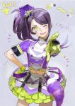1girl ;d frilled_skirt frills gloves hand_on_hip hat head_tilt highres idol long_hair looking_at_viewer midriff navel nishihara_isao one_eye_closed open_mouth pointing pointing_at_viewer pretty_(series) pripara purple_hair side_ponytail skirt smile toudou_shion yellow_eyes yellow_gloves