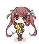 1girl arm_warmers asagumo_(kantai_collection) bangs black_legwear blue_bow blush_stickers bow brown_footwear brown_hair chibi closed_mouth collared_shirt colored_shadow commentary_request eyebrows_visible_through_hair full_body green_eyes grey_skirt hair_between_eyes hair_bow hair_rings highres holding holding_stuffed_animal kantai_collection komakoma_(magicaltale) loafers long_hair looking_at_viewer pleated_skirt price_tag shadow shirt shoes short_sleeves skirt solo standing stuffed_animal stuffed_lion stuffed_toy suspender_skirt suspenders thigh-highs twintails very_long_hair white_background white_shirt