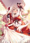 1girl artist_name baby's-breath blue_eyes bow dress fate/grand_order fate_(series) floral_print flower gloves hat hat_bow hat_flower highres holding holding_umbrella long_hair looking_at_viewer marie_antoinette_(fate/grand_order) open_mouth overskirt parasol pink_flower pink_rose puffy_short_sleeves puffy_sleeves red_dress red_gloves rose rose_print rosuuri short_sleeves solo twintails umbrella very_long_hair wall white_hair