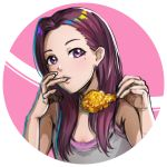 1girl bare_shoulders chicken_(food) chicken_leg circle finger_in_mouth flat_chest food fried_chicken grey_tank_top hair_over_breasts hands_up holding holding_food kelinch1 light_blush long_hair looking_at_viewer mole mole_under_eye multicolored_hair open_mouth original portrait purple_background purple_hair rainbow_hair simple_background solo tank_top two-tone_background violet_eyes