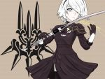 1girl :| absurdres black_dress black_hairband cleavage_cutout closed_mouth dress eyebrows_behind_hair feather-trimmed_sleeves gloves hairband highres instrument juliet_sleeves katana long_sleeves mole mole_under_mouth nier_(series) nier_automata no_blindfold puffy_sleeves shippaidayo silver_hair sword thigh-highs violin weapon white_hair yorha yorha_no._2_type_b