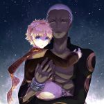 2boys :o alter_servant alternate_costume archer_alter bangs blonde_hair blue_eyes bright_pupils chest dark_skin dark_skinned_male emiya_alter eyebrows_visible_through_hair fate/grand_order fate/requiem fate_(series) gloves goggles goggles_on_head highres holding_another looking_at_another looking_at_viewer male_focus multiple_boys muscle open_mouth pants parted_bangs reanisu_lunashi scarf sky spacesuit star_(sky) starry_sky upper_body voyager_(fate/requiem) white_hair yellow_eyes yellow_scarf