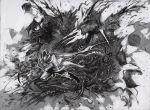 1boy bleeding blood bloodborne coat cutting death extra_eyes eyeball gloves greyscale hat hatching_(texture) holding holding_weapon hunter_(bloodborne) monochrome monster open_mouth organs sharp_teeth shibafu_no_atama teeth weapon