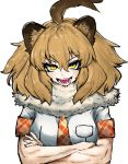 1girl :d adeshi_(adeshi0693119) ahoge animal_ears bangs blonde_hair breast_pocket commentary_request crossed_arms eyebrows_visible_through_hair fangs fur_collar highres kemono_friends lion_(kemono_friends) lion_ears lion_girl looking_at_viewer muscle muscular_female necktie open_mouth plaid_neckwear plaid_trim pocket red_neckwear sharp_teeth shirt short_hair short_sleeves sidelocks smile solo teeth tsurime upper_body v-shaped_eyebrows white_background white_shirt yellow_eyes