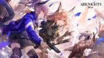 3girls animal_ears arknights bangs black_legwear black_skirt blue_jacket brown_hair cat_ears cat_tail copyright_name cowboy_shot drawstring eyebrows_visible_through_hair fox_ears franka_(arknights) gloves grey_gloves grey_jacket grey_shirt gun hand_up handgun headphones highres holding holding_gun holding_weapon horns id_card jacket jessica_(arknights) left-handed liskarm_(arknights) long_sleeves looking_at_another miniskirt multiple_girls open_clothes open_jacket orange_eyes ozadomi parted_lips pistol pleated_skirt ponytail shirt short_hair short_ponytail sidelocks silver_hair skirt smile standing tail thigh-highs thighs watch watch weapon zettai_ryouiki