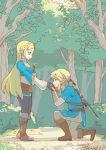 1boy 1girl blonde_hair blue_eyes blue_shirt bush earrings fingerless_gloves gloves hand_kiss hand_on_own_chest jewelry kiss kneeling link long_hair looking_at_another master_sword pointy_ears princess_zelda shirt smile tetora_(ttr2011) the_legend_of_zelda the_legend_of_zelda:_breath_of_the_wild tree