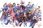 6+boys 6+girls alfonse_(fire_emblem) alm_(fire_emblem) anniversary armor axe bird blue_cape blue_eyes blue_hair blue_scarf bouquet brown_eyes brown_hair byleth_(fire_emblem) byleth_(fire_emblem)_(female) byleth_(fire_emblem)_(male) cape cat celica_(fire_emblem) chrom_(fire_emblem) claude_von_riegan closed_eyes copyright_name corrin_(fire_emblem) corrin_(fire_emblem)_(female) corrin_(fire_emblem)_(male) dimitri_alexandre_blaiddyd dog dual_persona edelgard_von_hresvelg eirika_(fire_emblem) eliwood_(fire_emblem) ephraim_(fire_emblem) everyone falchion_(fire_emblem) feh_(fire_emblem_heroes) fire_emblem fire_emblem:_mystery_of_the_emblem fire_emblem:_path_of_radiance fire_emblem:_radiant_dawn fire_emblem:_shadow_dragon_and_the_blade_of_light fire_emblem:_the_binding_blade fire_emblem:_the_blazing_blade fire_emblem:_the_sacred_stones fire_emblem_awakening fire_emblem_echoes:_shadows_of_valentia fire_emblem_fates fire_emblem_heroes flower green_eyes green_hair headband hector_(fire_emblem) highres holding holding_axe holding_spear holding_sword holding_weapon ike_(fire_emblem) leif_(fire_emblem) lilith_(fire_emblem) long_hair lucina lucina_(fire_emblem) lyn_(fire_emblem) marth_(fire_emblem) micaiah_(fire_emblem) multiple_boys multiple_girls one_eye_closed polearm ponytail red_cape red_eyes redhead roy_(fire_emblem) scarf seliph_(fire_emblem) sigurd_(fire_emblem) silver_hair spear sword sword_of_the_creator weapon yellow_eyes yukimiyuki yune_(fire_emblem)