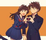 1boy 1girl ;d bangs black_jacket blue_eyes blue_legwear blue_sailor_collar blue_serafuku blue_shirt blue_skirt blush brown_hair closed_mouth collarbone collared_shirt couple dress_shirt eyebrows_visible_through_hair floating_hair hage_ta hair_between_eyes heart heart_hands heart_hands_duo jacket kneehighs kuroba_kaito locked_arms long_hair long_sleeves looking_at_viewer magic_kaito miniskirt nakamori_aoko neckerchief official_style one_eye_closed open_mouth orange_background pleated_skirt red_neckwear sailor_collar sailor_shirt shiny shiny_hair shirt skirt smile two-tone_background white_background white_shirt wing_collar