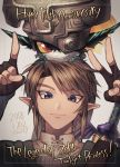 1boy 1girl chainmail earrings fang fingerless_gloves gloves green_headwear grey_eyes jewelry link looking_at_viewer loz_017 master_sword midna pointing pointy_ears red_eyes smirk the_legend_of_zelda the_legend_of_zelda:_twilight_princess v yellow_sclera