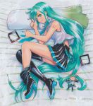 1girl aqua_eyes aqua_hair aqua_neckwear bangs bare_arms bare_shoulders bed_sheet black_footwear black_skirt boots breasts character_doll closed_mouth collared_shirt doll english_commentary fetal_position from_above full_body green_eyes green_hair green_nails grey_shirt hair_down hair_ornament hatsune_miku high_heel_boots high_heels highres lipstick long_hair looking_at_viewer lying makeup marker_(medium) mayo_riyo miniskirt mismatched_footwear nail_polish necktie on_bed on_side pillow pleated_skirt shirt shoe_soles shoulder_tattoo sideways_glance skirt sleeveless sleeveless_shirt small_breasts smile solo spring_onion swept_bangs tattoo themed_object thigh-highs thigh_boots traditional_media very_long_hair vocaloid