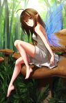 1girl absurdres ahoge bangs bare_arms bare_shoulders barefoot blue_wings breasts brown_hair closed_mouth commentary day dress eyebrows_visible_through_hair fairy fairy_wings forest full_body green_eyes hair_between_eyes highres knee_up medium_breasts mushroom nature ndtwofives original outdoors sitting sleeveless sleeveless_dress smile solo transparent_wings twitter_username white_dress wings