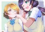 2girls bangs blush bow bowtie breasts cheek_poking eyebrows_visible_through_hair fingers highres koizumi_hanayo large_breasts looking_at_another love_live! love_live!_school_idol_project multiple_girls one_eye_closed otonokizaka_school_uniform poking raised_eyebrows repunit school_uniform shirt short_sleeves smile striped striped_neckwear swept_bangs toujou_nozomi upper_body vest white_shirt