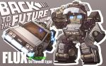 back_to_the_future blue_eyes chibi crossover dated delorean eyewear_on_head grey_background mecha no_humans original solo susagane transformers