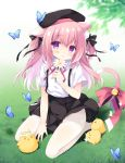 1girl animal_ear_fluff animal_ears azur_lane bell bird black_headwear black_skirt bug butterfly cat_ears chick commentary_request flower hat highres insect jingle_bell kisaragi_(azur_lane) long_hair looking_at_viewer manjuu_(azur_lane) no_shoes outdoors pantyhose pink_eyes pink_hair purinko ribbon shirt short_sleeves sitting skirt smile suspender_skirt suspenders tail tail_ornament tail_ribbon thighs two_side_up white_legwear white_shirt wind wind_lift