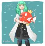 1girl alternate_costume blue_legwear boots crossover fire_emblem fire_emblem:_three_houses flayn_(fire_emblem) gen_1_pokemon green_eyes green_hair hair_ornament holding holding_pokemon labcoat magikarp open_mouth pokemon_(creature) robaco solo