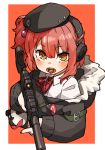 1girl amonitto beret candy commentary_request food girls_frontline gun h&k_mp7 hair_ornament hat headphones jacket lollipop looking_at_viewer mp7_(girls_frontline) off_shoulder pink_hair solo submachine_gun suppressor weapon yellow_eyes